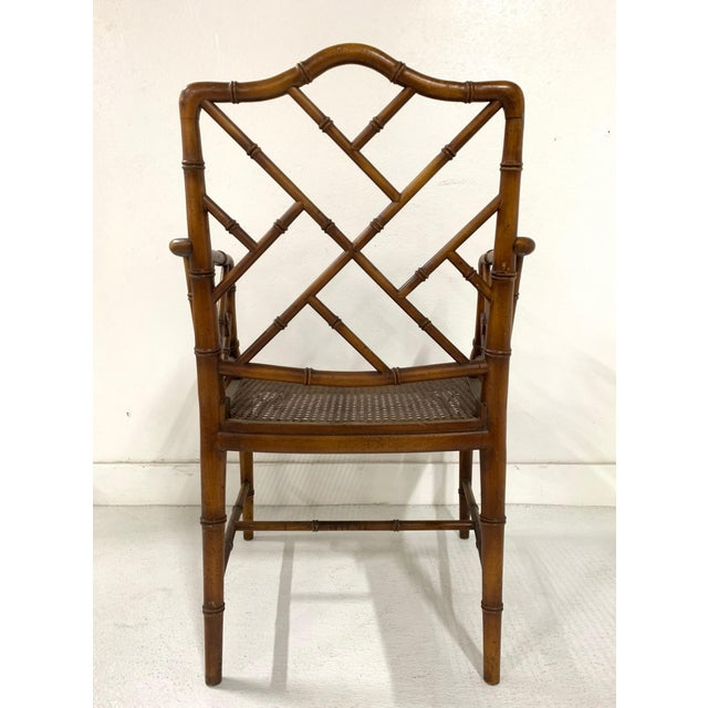 Asian Chinese Chippendale Style Faux Bamboo Arm Chair For Sale - Image 3 of 9