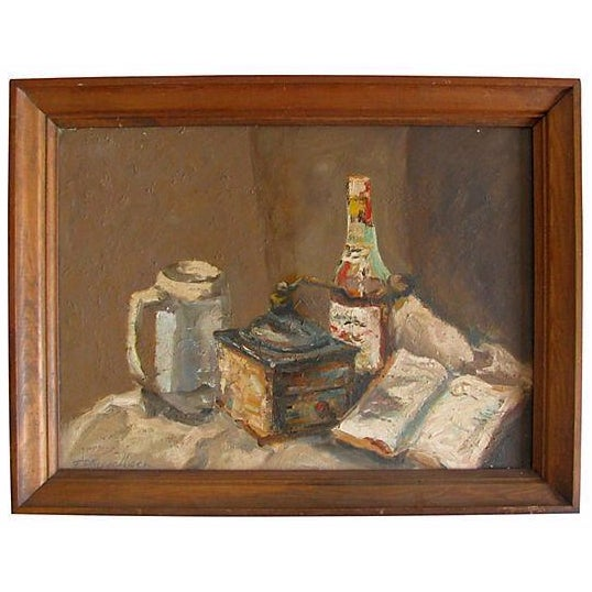 Vintage European Coffee Mill Painting - Image 1 of 3