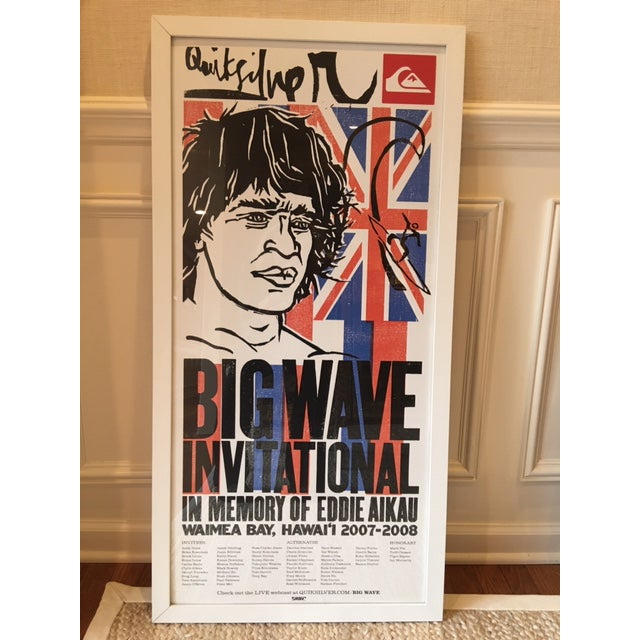 Vintage piece of Hawaiian History. Poster from the Quiksilver Big Wave Invitational in Waimea Bay, Hawaii in memory of...