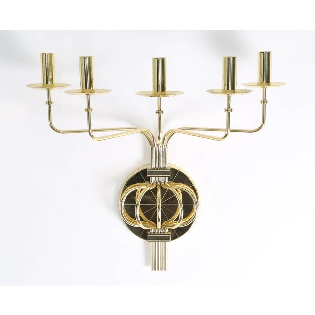 1950's vintage TOMMI PARZINGER BRASS WALL CANDELABRA- a pair For Sale In New York - Image 6 of 9