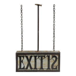 "Antique Light Up Stained Glass ""Exit 12"" Sign For Sale"
