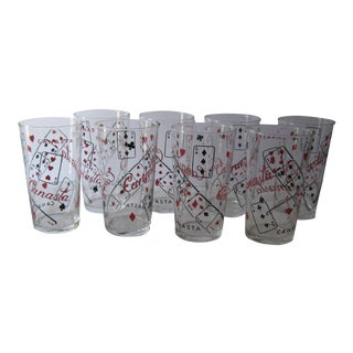 1950s Mid-Century Modern Canasta Themed Glass Tumblers - Set of 8