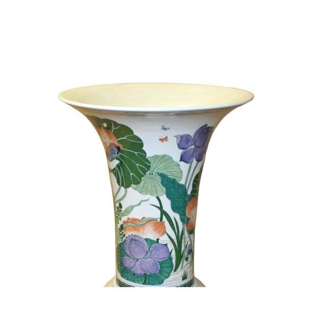Asian Chinese Handmade Porcelain Flower Tall Art Vase For Sale - Image 3 of 9