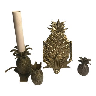 Vintage Brass Pineapples Decor Collection - Set of 4 For Sale