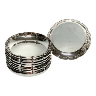 12 American Modern Sterling, Silver Coasters, Heavy For Sale
