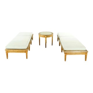 McGuire Teak Chaise Lounge Chairs & Limestone Side Table- 3 Pieces For Sale