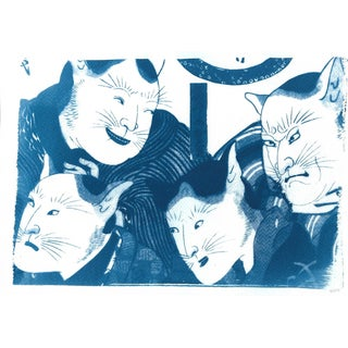 Cyanotype Print on Watercolor Paper Japanese Kabuki Actors With Cat Masks Cyanotype Print, Traditional Ukiyo-E For Sale