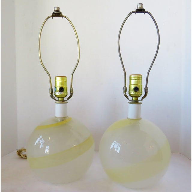 Italian Glass Globe Lamps - a Pair For Sale In Los Angeles - Image 6 of 6