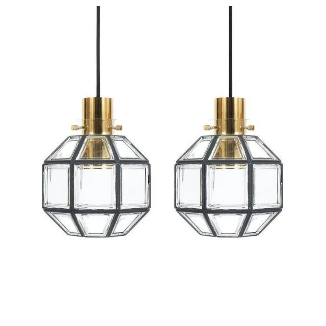 Brass Set of Three Clear Glass Lantern Flush Mounts Lamps by Limburg For Sale - Image 7 of 8