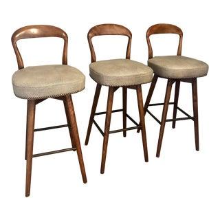 Vintage Mid Century Henry Rosengren Hansen Teak Danish Swivel Barstools- Set of 3 For Sale