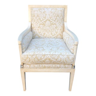 Charles Pollock Directoire Style Bergere Arm Chair W Fortuny Fabric For Sale