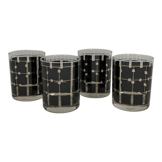 Black and Gold Grid Cocktail Glasses- Set of 4 For Sale