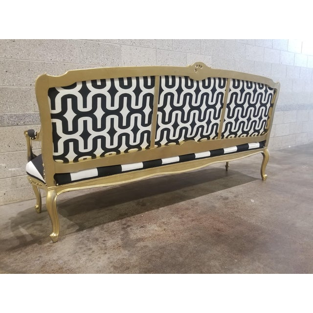 1950s Vintage Victorian Black and White Striped Sofa For Sale - Image 9 of 11