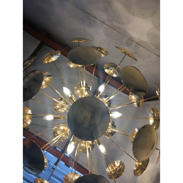 Metal Huge and Rare Century Gold Metal Frame Sputnik Chandelier For Sale - Image 7 of 13