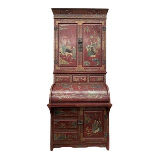 Style 20th Century Chinese Chinoiserie Secretary Desk For Sale