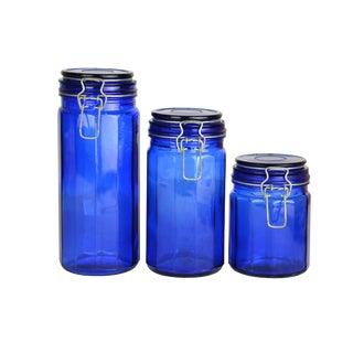 Vintage Cobalt Canisters - Set of 3