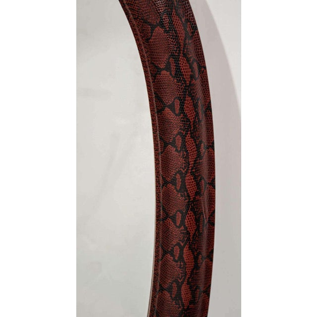 1970s Mid-Century Modern Burgundy Leather Mirror With Embossed Print For Sale - Image 5 of 11
