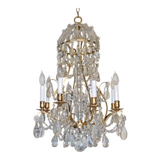 1960s French 8 Arm 12 Light Brass Beaded Domed Crystal Chandelier For Sale