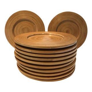 Vintage 1970s Wooden Chargers - Set of 12 For Sale