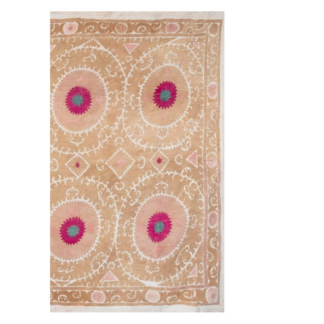 """Camel Tribal Embroidery Wall Decor, Suzani Bedspread 8'2"""" X 11'6"""" For Sale - Image 8 of 13"""