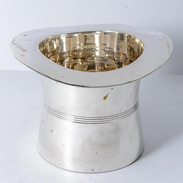 Contemporary Silver Plated Top Hat Champagne Bucket by Godinger For Sale - Image 3 of 12