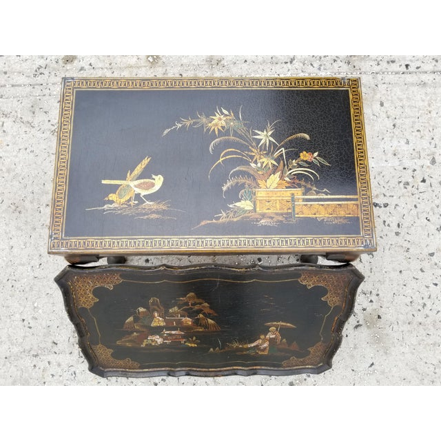 Black Antique Victorian English Queen Anne Style Chinoiserie Tea Table For Sale - Image 8 of 11