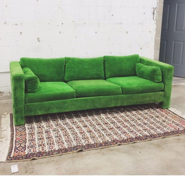 Mid-Century Modern Milo Baughman Thayer Coggin Stunning Green Sofa For Sale - Image 3 of 5
