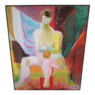 Abstract Female Nude, O/C, Signed May Bender 1968 For Sale