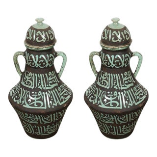 Pair of Moroccan Green and Brown Chiselled Ceramic Urns With Handles For Sale