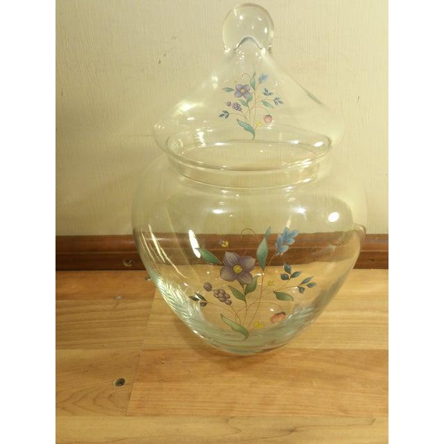 Clear Glass Floral Design Lidded Jar - Image 2 of 6