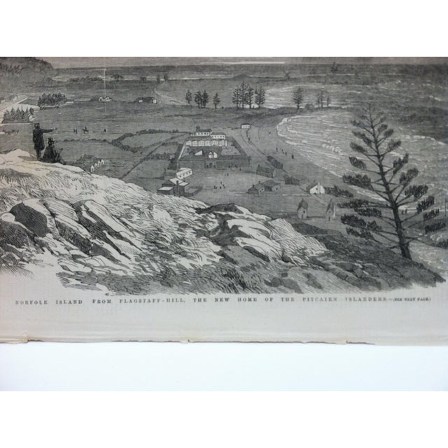 """English Traditional 1856 Antique Illustrated London News """"Norfolk Island - From Flagstaff Hill"""" Print For Sale - Image 3 of 5"""