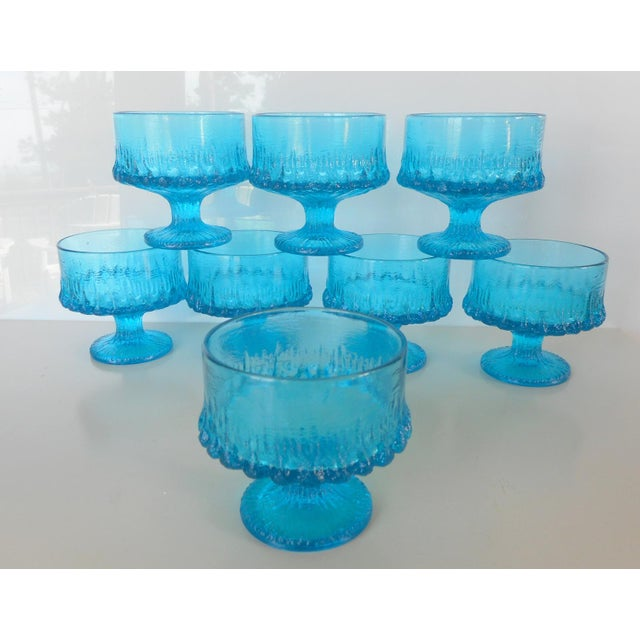 Vintage Turquoise Blue Textured Glass Sherbets - Set of 8 - Image 3 of 7