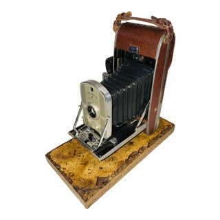 Early Large Polaroid Camera Circa 1948-1959 Iconic Rare Display Camera on Polished Travertine Stone Base For Sale