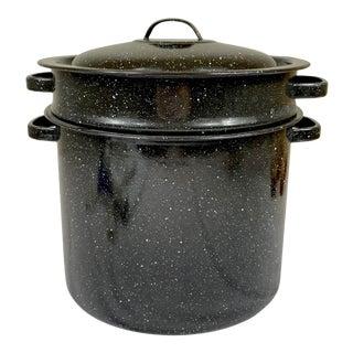 Vintage Black and White Enamel Pot With Colander For Sale