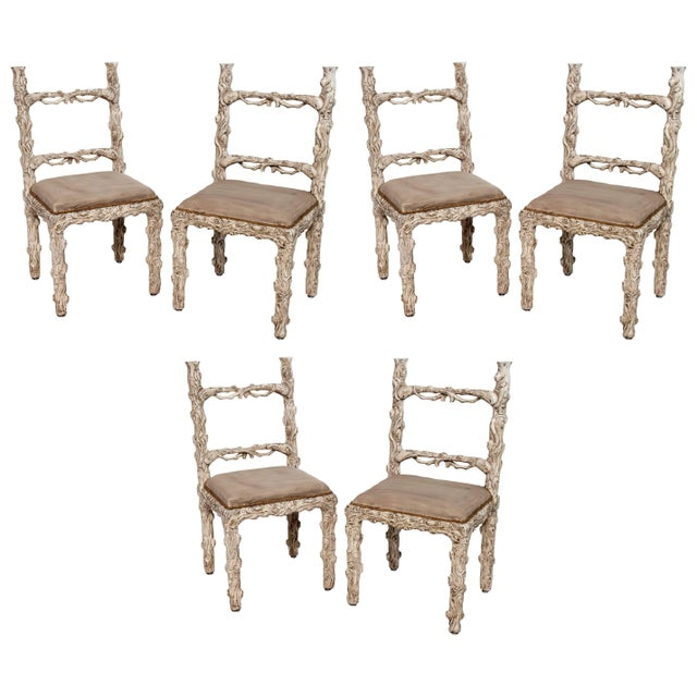 1950s Set of Six Carved White Painted Wooden Chairs With a Faux Tree Trunk Design For Sale - Image 5 of 5