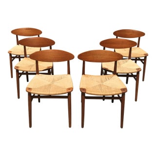 Set of 6 Niels Moller Paper Cord and Teak Danish Chairs