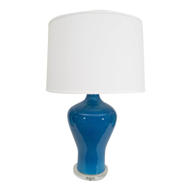 Large Blue Porcelain Lamp For Sale