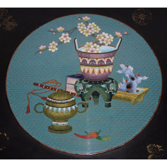 Asian 1940s Vintage Black Lacquer & Turquoise Blue Cloisonne Chinese Coffee Table For Sale - Image 3 of 8