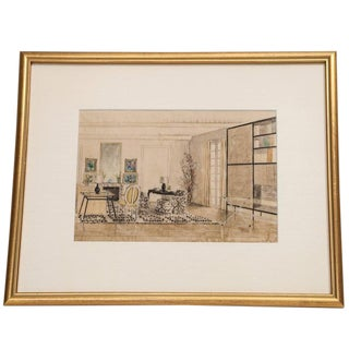 Hand Colored Interior Drawing For Sale