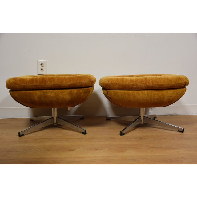 Orange Lounge Chairs & Ottomans - a Pair - Image 9 of 10