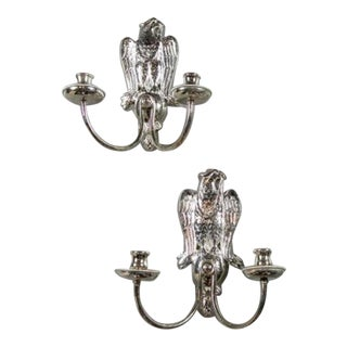 1920s Silver Plated Federal Sconces - a Pair For Sale