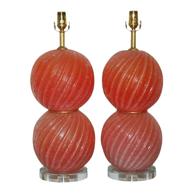 Gold Vintage Murano Pulegoso Glass Ball Table Lamps Melon For Sale - Image 8 of 8