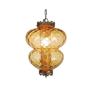 Hollywood Regency Italian Amber Glass Pendant Lamp For Sale