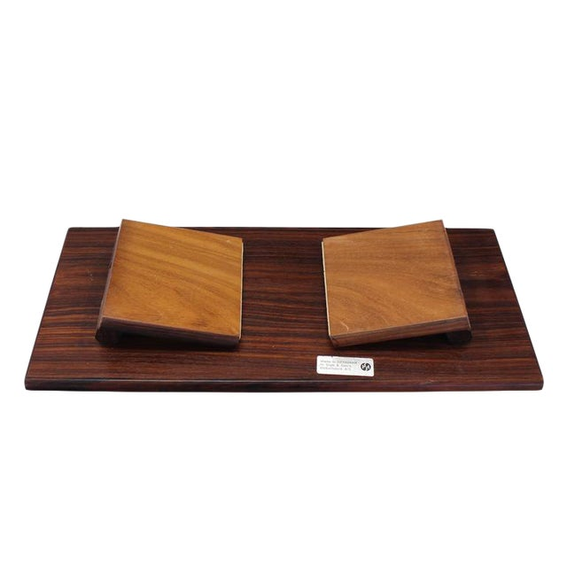 Folding Legs Serving Tray Rosewood and Tile Top, Denmark For Sale