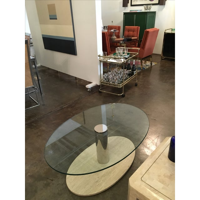 Mario Bellini for Cassina Travertine and Chrome Coffee Table with Glass - Image 4 of 9