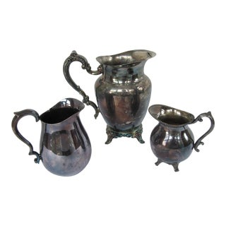 Vintage Shabby Chic Silver-Plate Pitchers-3 Pieces For Sale