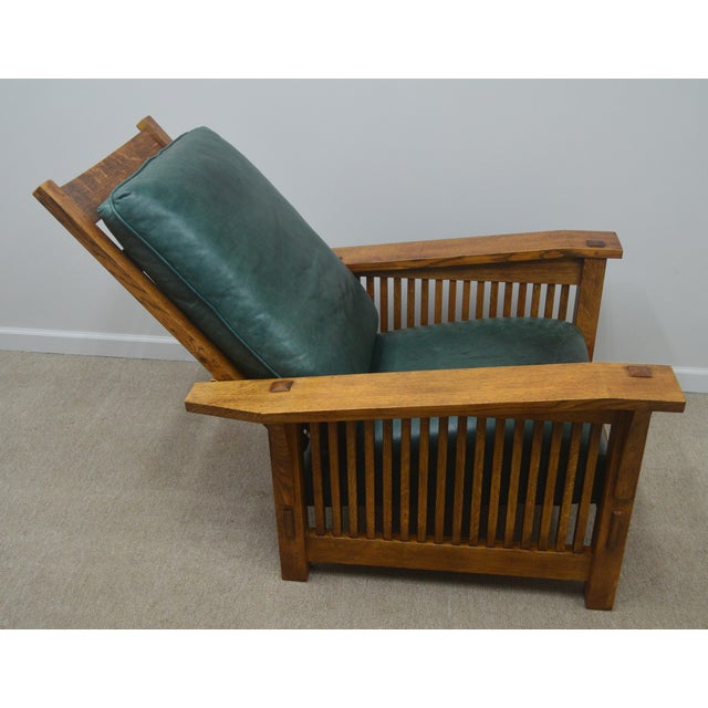 Wood Stickley Oak Mission Morris Chair W/ Ottoman For Sale - Image 7 of 13