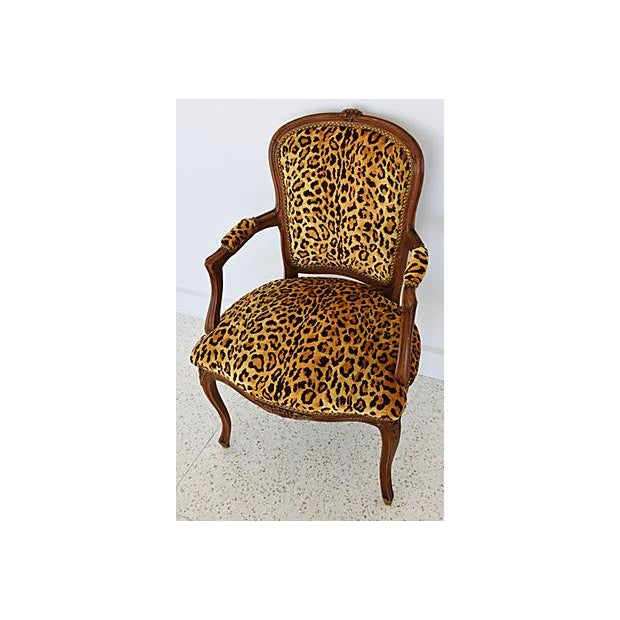 1950s Leopard Velvet Carved Armchair For Sale In Los Angeles - Image 6 of 12