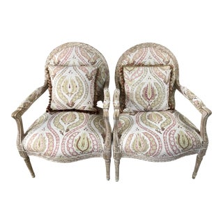 Two-Tone Finish Armchairs - a Pair For Sale
