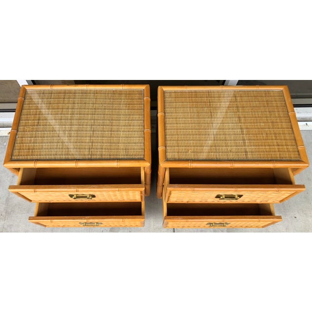 1980s Coastal Style Bamboo/Rattan Nightstands For Sale - Image 5 of 8